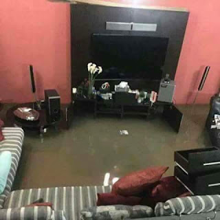 A flooded parlor in Suleja flooding