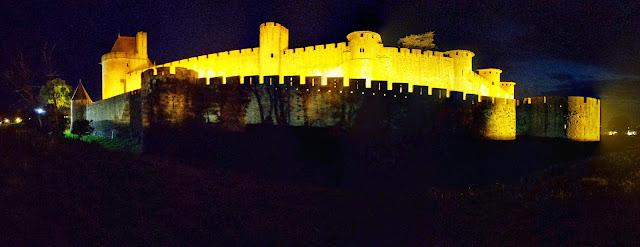 Carcasonne City wall at night
