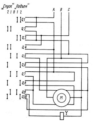 Схема управления двухскоростным асинхронным двигателем грузовой лебедки