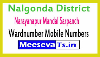 Narayanapur Mandal Sarpanch Wardnumber Mobile Numbers List Part I Nalgonda District in Telangana State