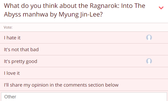 ragnarok: into the abyss, manhwa, myung jin-lee, reviews, polls, opinion stage, ratings