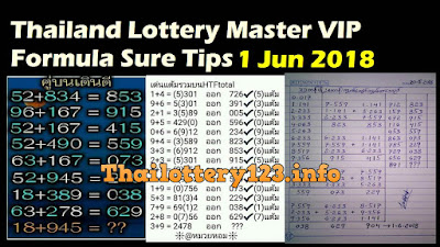 Thailand Lottery Master VIP Formula Sure Tips 1 Jun 2018