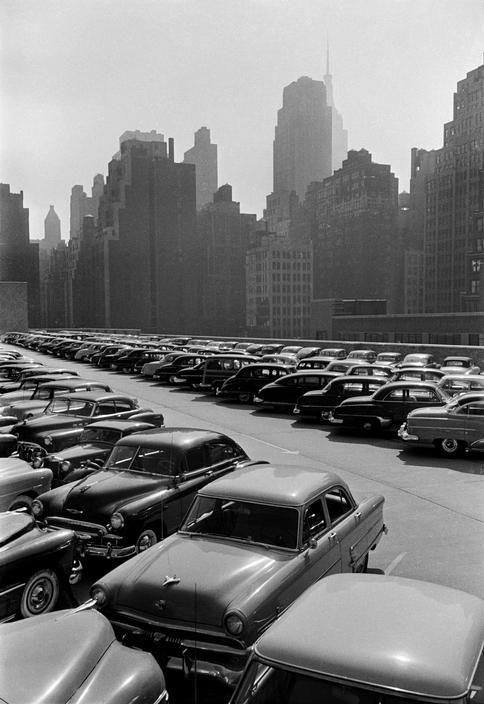 PHOTOGRAPHY: Full Parking Lot. Manhattan, NY. (1953) by Swiss photographer Werner Bischof
