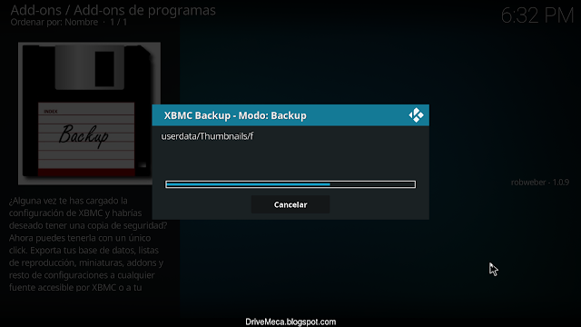 El addon Backup realiza la copia