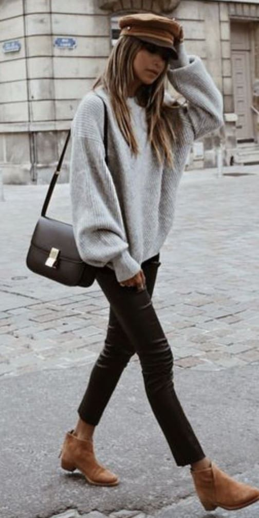 casual style obsession / hat + bag + oversized sweater + black skinnies + boots