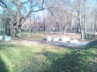 sacks,. yambol City Park, fallen leaves, maniacs,