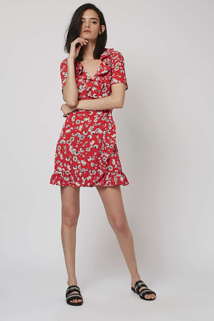 red tea dress. red floral dress.