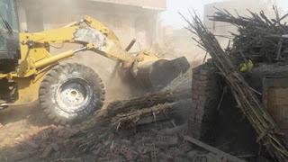 حملة إزالة مكبره للتعديات على أراضى الدولة بمركزالسنطة بمحافظة الغربية