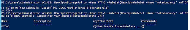 vSAN Policies with PowerCLI (No redundancy i.e FTT=0)