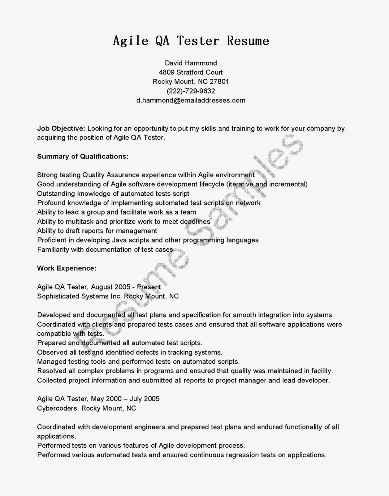 resume samples  agile qa tester resume
