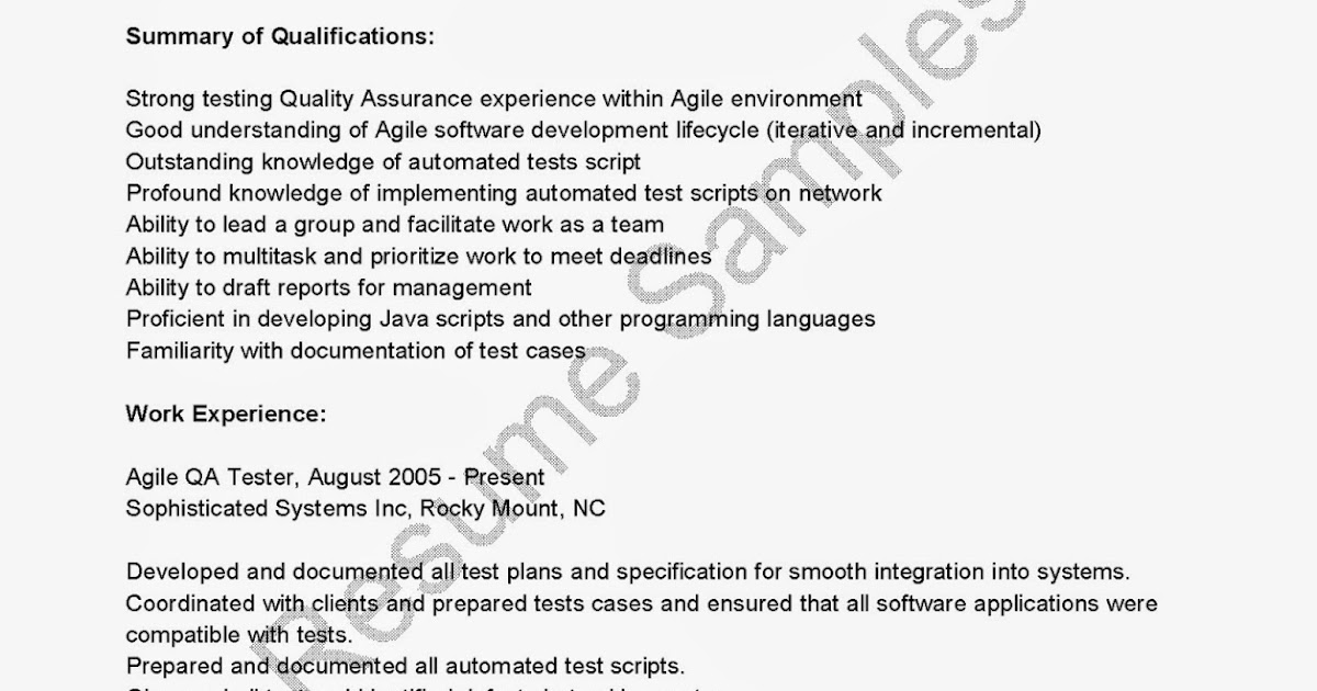 Resume Of Qa Tester | Software Tester Sample Resume Selom Digitalsite Co