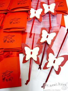bomboniera laurea segnalibro inciso farfalla rossa