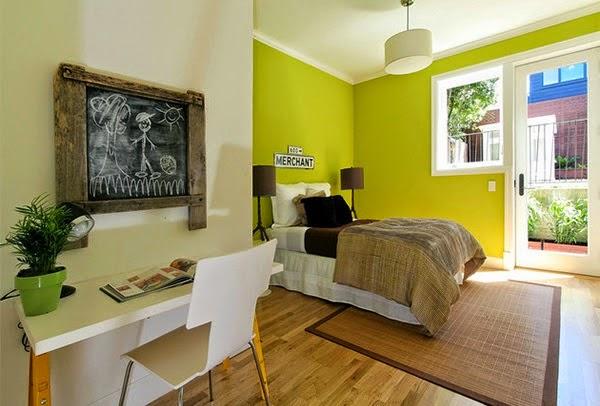 dormitorio en marrón verde