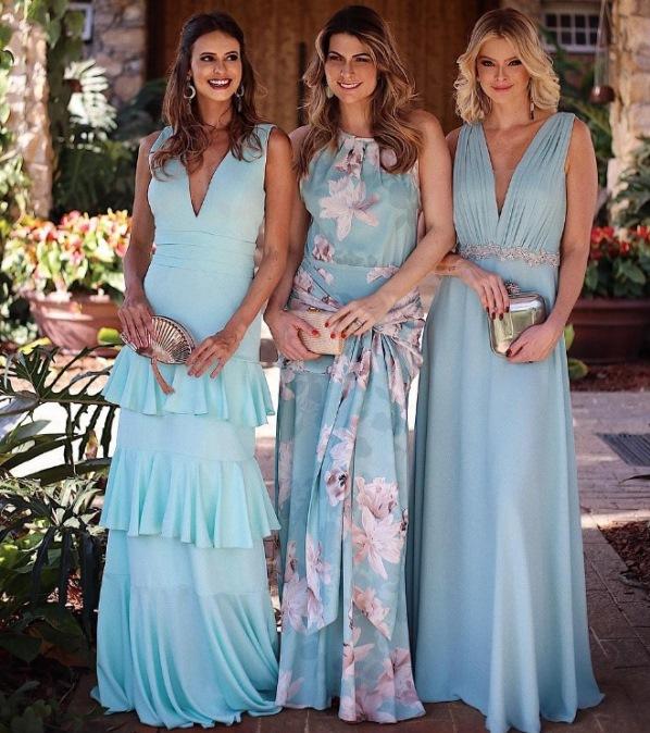 vestido de festa tiffany  casamento ao ar livre