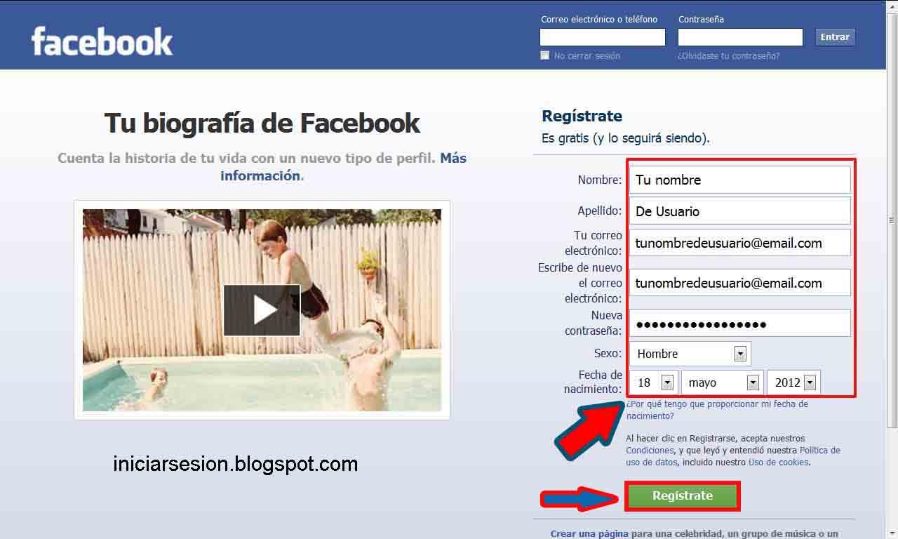 crear facebook iniciar sesión