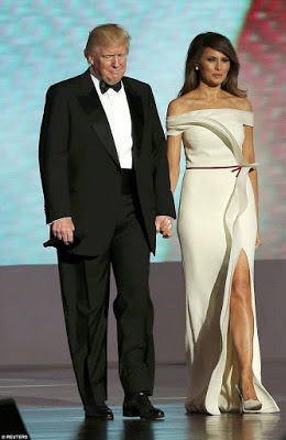 American First Lady, Melania Trump steps out in daring ivory gown to the Armed services ball