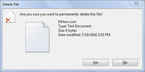 permanent file deletion confirmation