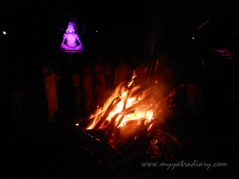Holika Dahan ritual, Holi Festival in Parmarth Ashram, Rishikesh.
