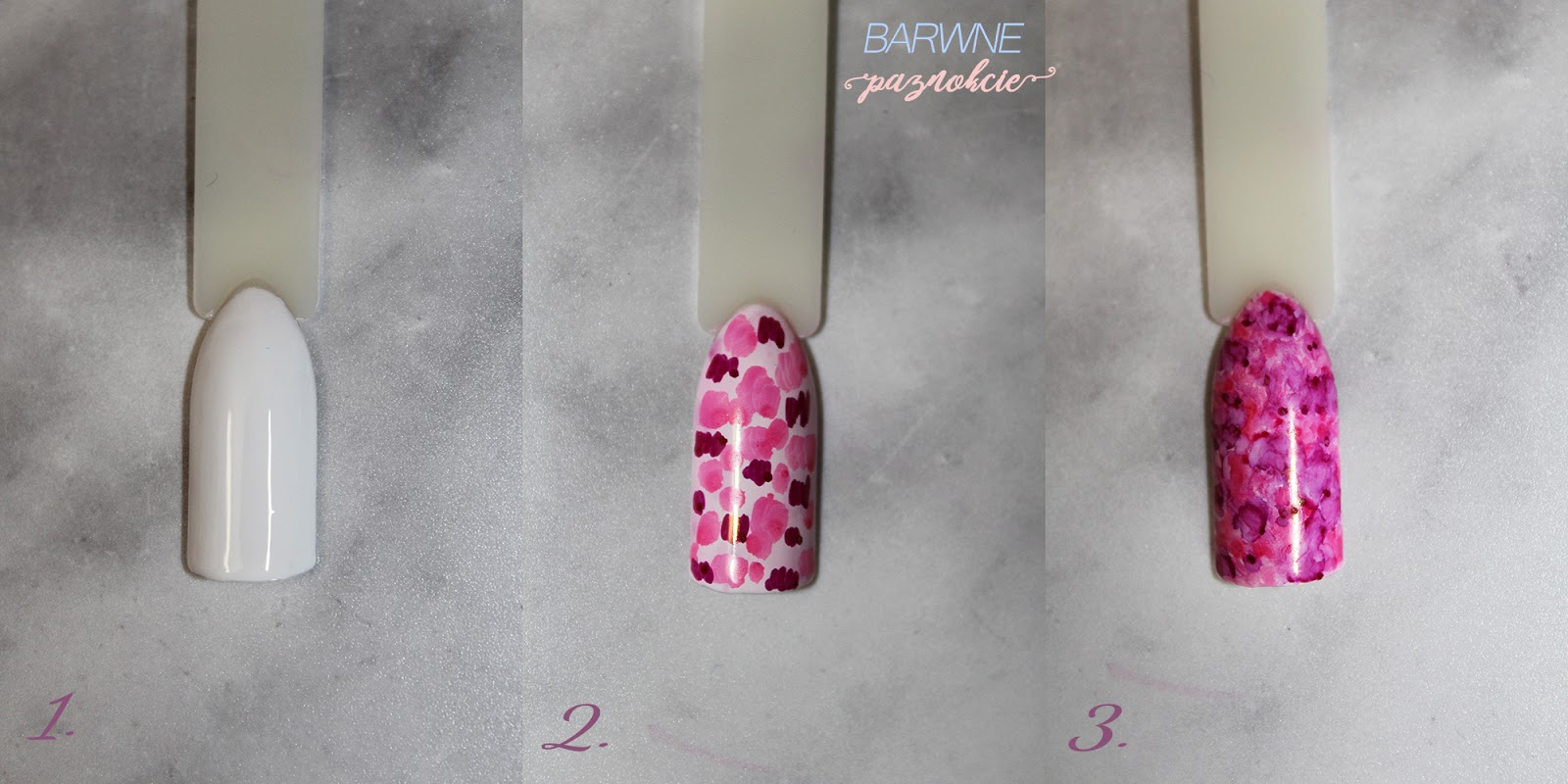 Sharpie Effect - step by step - manicure hybrydowy - barwne paznokcie - krok po kroku