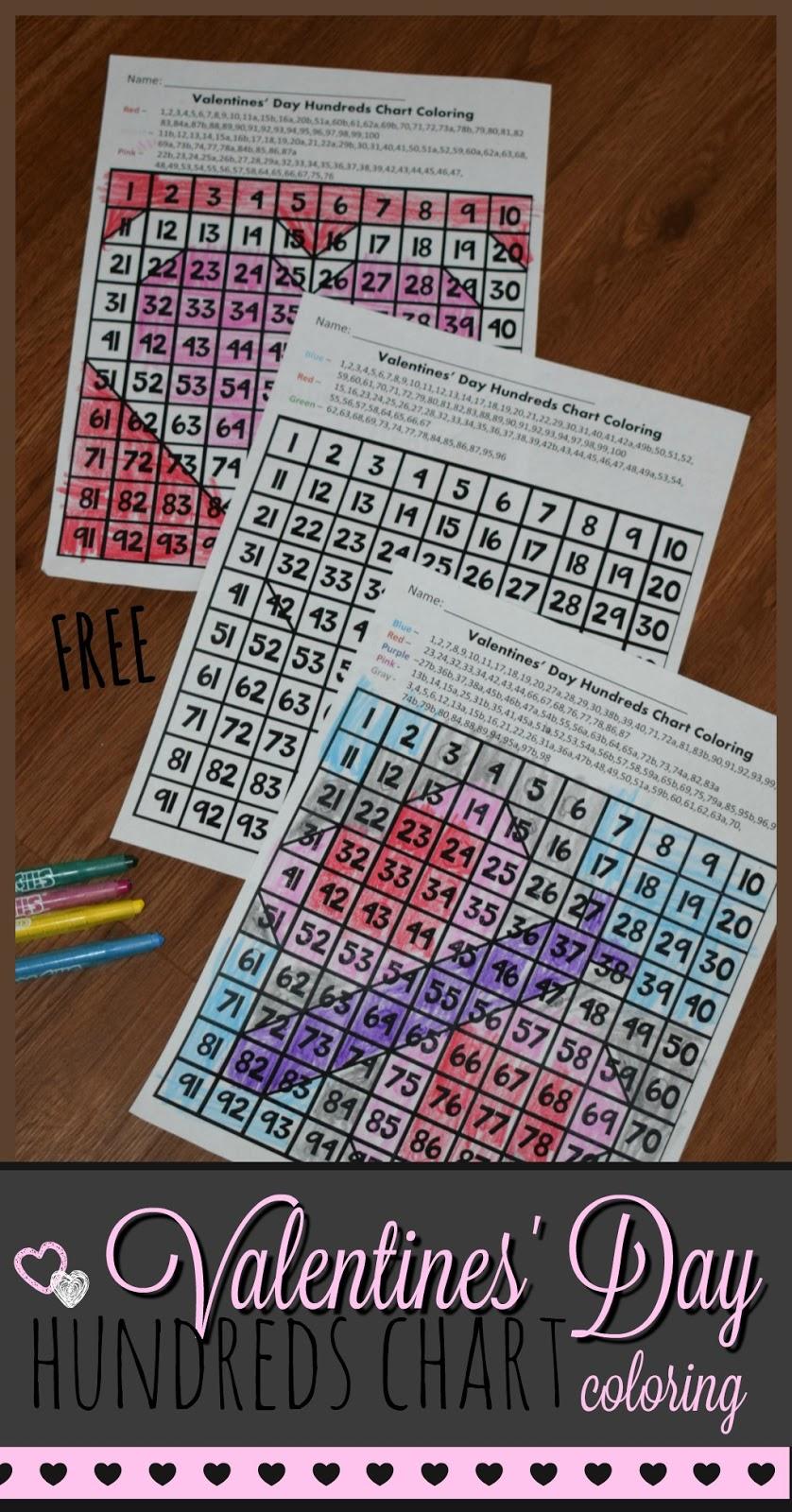 Kindergarten Worksheets and Games: FREE Hundreds Chart Valentines ...