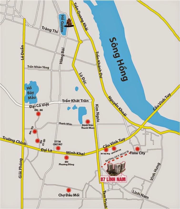 Vị trí chung cư New Horizon City 87 Lĩnh Nam