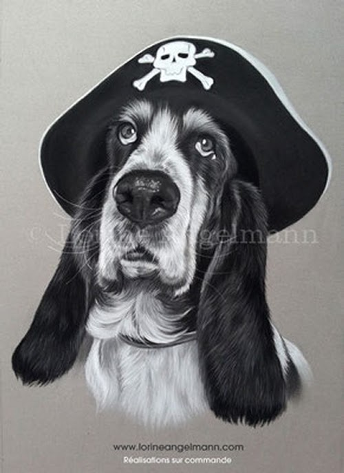 01-Pirate-Basset-Hound-Lorine-Angelmann-Cool-Realistic-Animal-Drawings-www-designstack-co