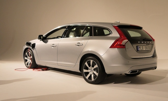 Volvo V60 hybrid from the rear