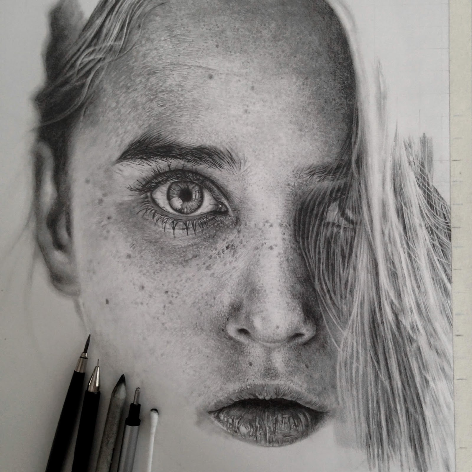 I Like To Challenge Myself With Complex Portraits Especially People Freckles Or Beard And Im Addicted Details Drawing In As Much