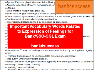 List of Important Words Representing Feeling for IBPS Bank Exam, SSC, Railway and Other Competitive Exam