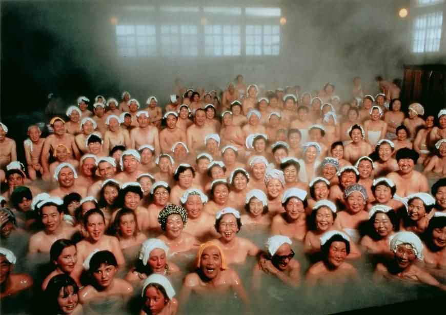 Bathing mixed japanese onsen