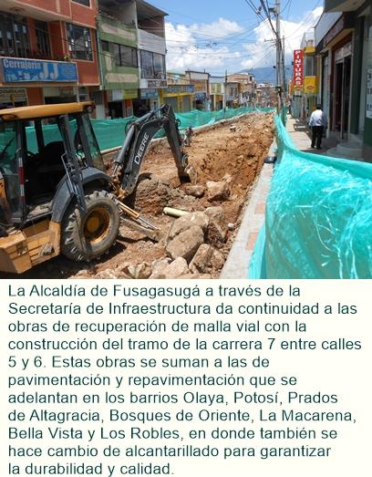 Avanzan obras viales y mantenimientos en el alumbrado público de Fusagasugá.
