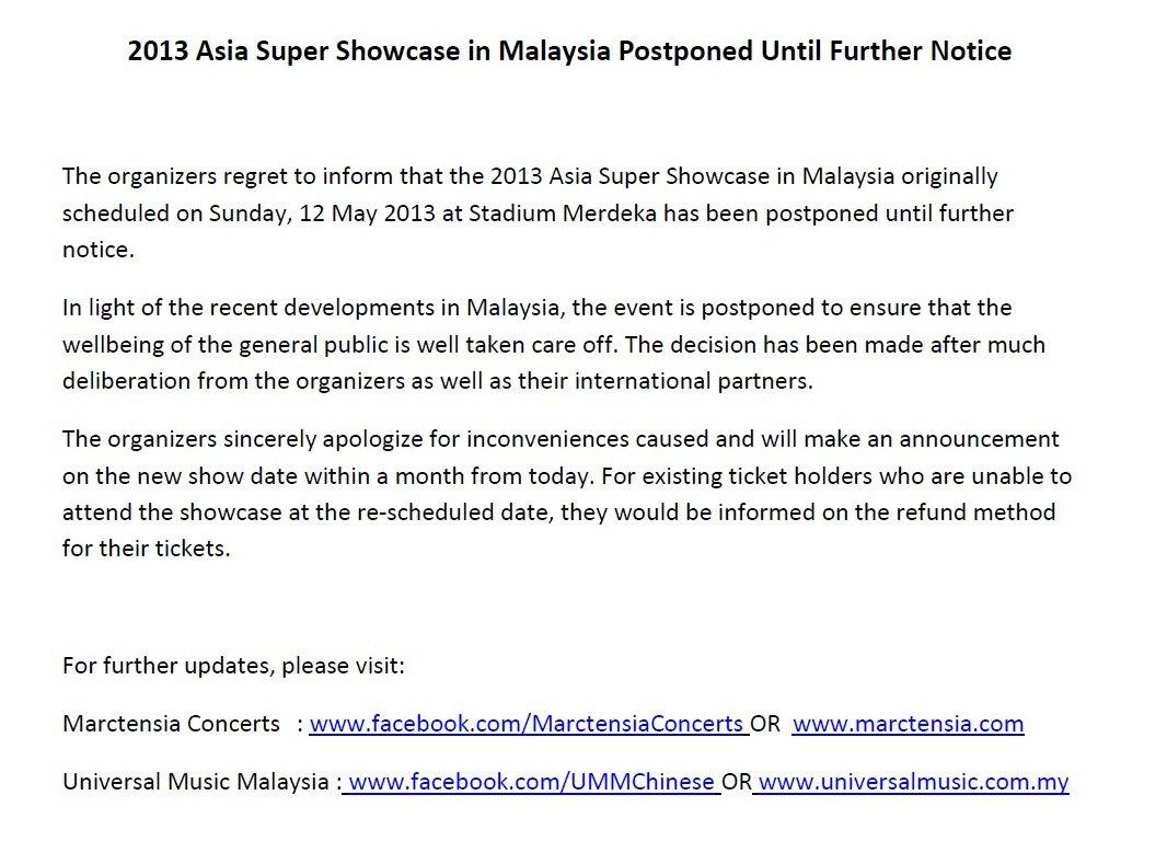 Asia Super Showcase In Malaysia Postponed Until
