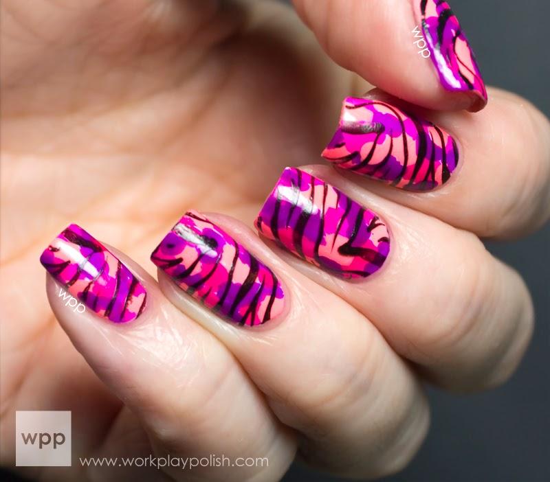 JulieG Splotchy Neon Zebra Print Nail Art