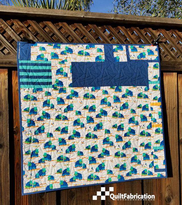 Hippo Blue quilt backside