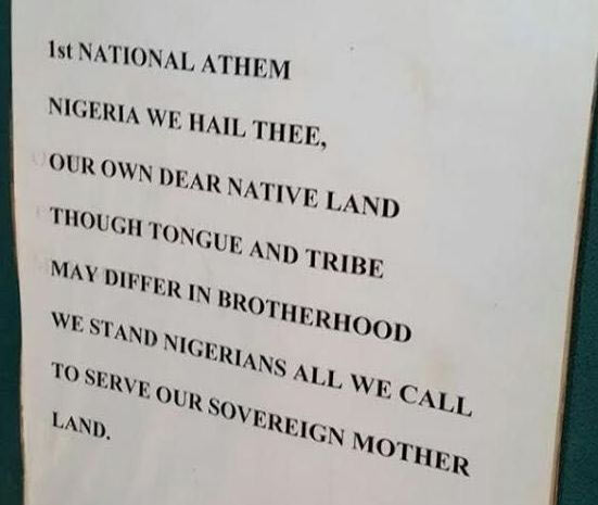 Check out what the first Nigerian National Anthem looked like