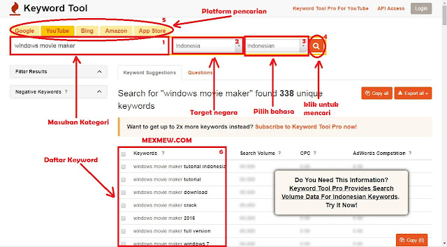 riset keyword, keywordtool.io, mencari kata kunci