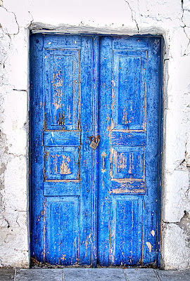 HDR image of a Blue door, Santorini - Greece