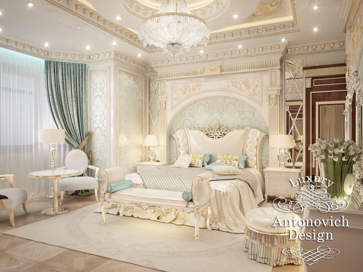 Интерьер французской спальни в оттенках оливкового и бежевого | Фото  дизайнов интерьера 2017 | Дизайн-студия Ольги Кондратовой | 900x1200