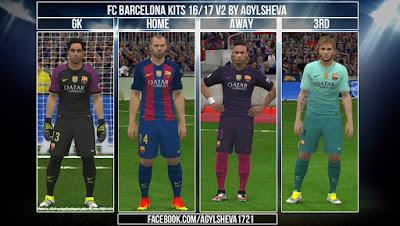 PES 2016 Fc Barcelona Kits V2 16/17 by Agylsheva