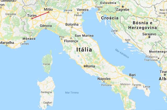 Mapa da viagem de Milão a Turim