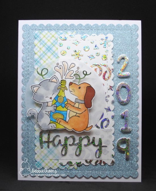 Happy 2019 by Debbie features Essential Alphabet, Confetti, Holiday Greetings, Newton Celebrates, and Frames & Flags; #newtonsnook
