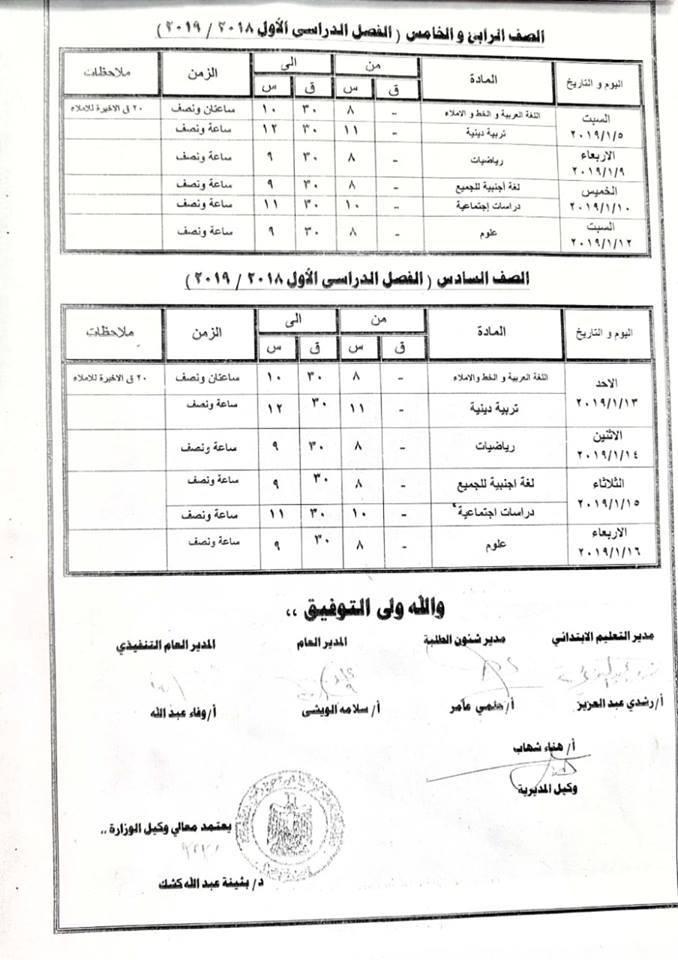 كفرالشيخ : جداول امتحانات المرحله الابتدائية والاعداديه للترم الاول 2019/2018