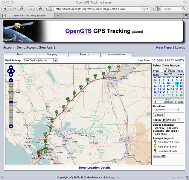 JoeGTEC's path: OpenGTS web-based GPS tracking services