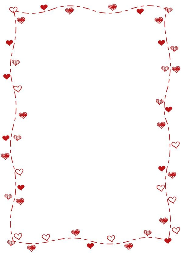 caratula para cuadernos con margenes de lineas de corazones