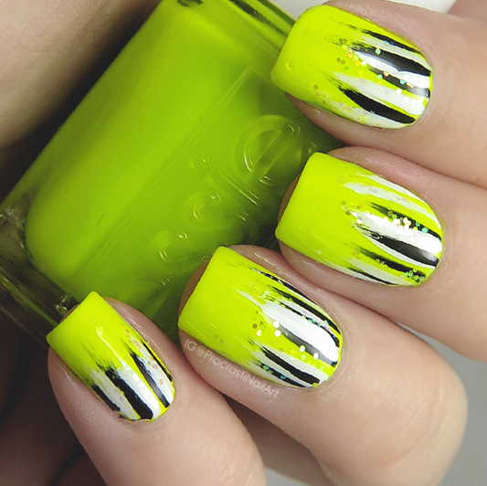 Neon Waterfall Mani with Essie Stencil Me In