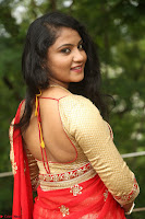 Akshara in Red Saree Golden Choli at LV Movie Makers Production No 1 Movie Opening ~  Exclusive 104.JPG