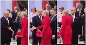 Mira como la primera dama de Polonia rechaza el saludo de Donald Trump