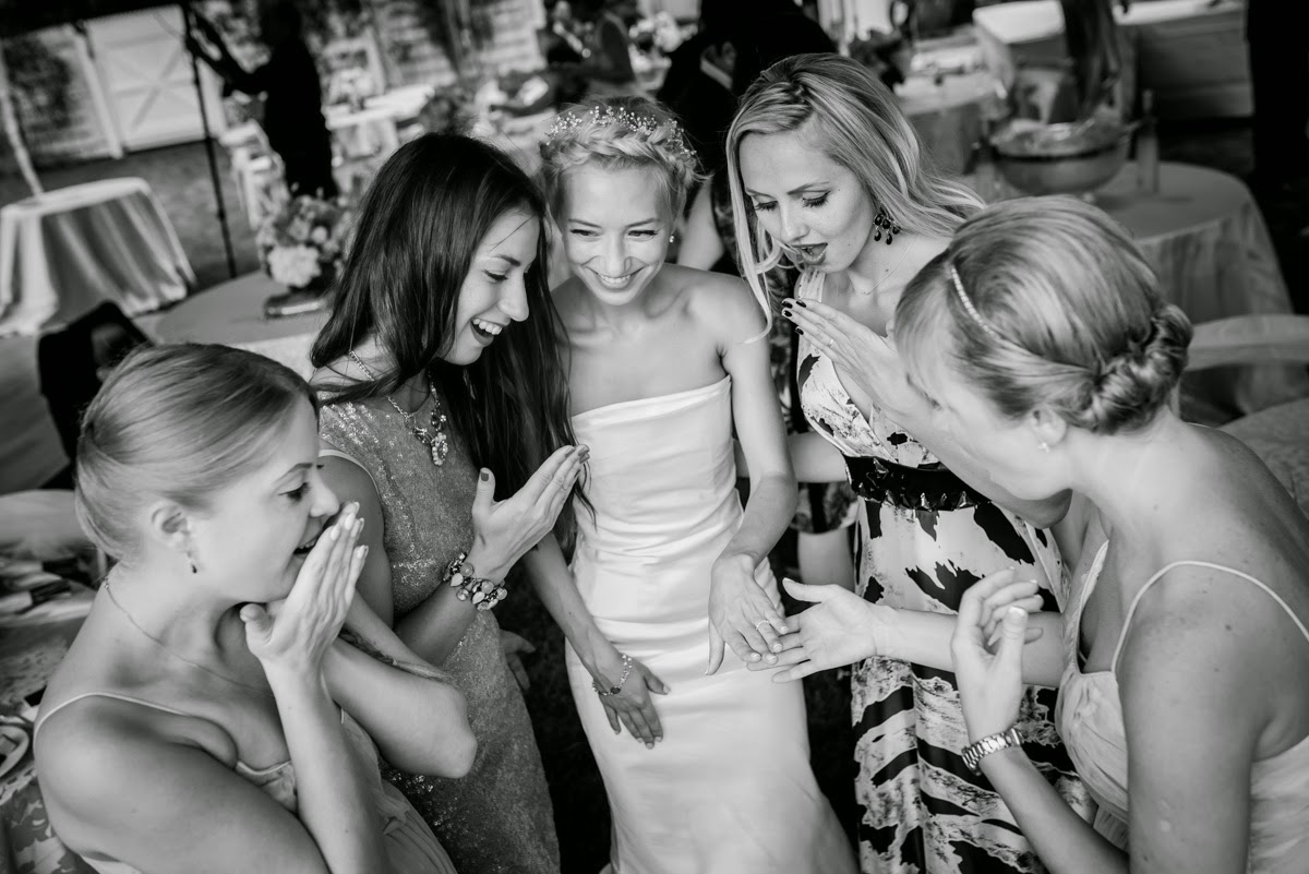 Bride enjoying some fun moments with friends.