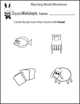 Cut and Paste Preschool Worksheets Kindergarten Rhyming Words