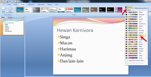 cara mendesain tema dari slide powerpoint